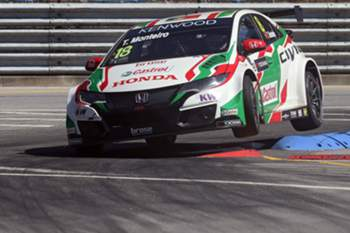 epa05392874 Portuguese Tiago Monteiro driving his Honda Civic WTCC during the second stage of World Touring Car Championship (WTCC) in Vila Real, Portugal, 26 June 2016. EPA/JOSE COELHO