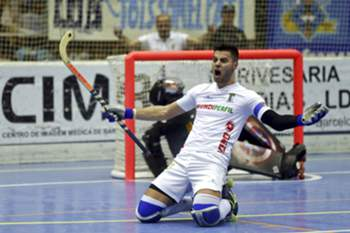 O. C. Barcelos´s Luis Querido celebrates a goal against C.P. Vilafranca during the final of the Cers Cup match of Rink-Hockey held at Municipal Pavilion, in Barcelos, north of Portugal, 01 May 2016. ESTELA SILVA/LUSA