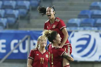Spanish player Leila Ouahabi (top) celebrates the 1-0 against Canada during the match at the Women Soccer Algarve Cup Final held at Algarve Stadium, Faro, Portugal, 08 March 2017.