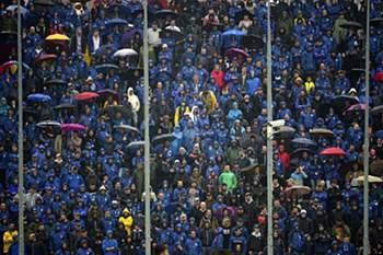 Adeptos do Atalanta, antes de um jogo da Serie A