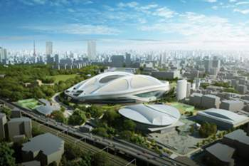 An undated handout image released by Japan Sport Council on 17 July 2015 shows an artist's concept image of the new National Stadium for 2020 Tokyo Olympics designed by Iraqi-British architect Zaha Hadid. Japanese Prime Minister Shinzo Abe announced 17 July 2015 he decided to bring the current new stadium plan for the Olympic stadium back to the drawing board amid growing criticism over its soaring cost, news reports said. Construction costs will be slashed, after swelling to 252 billion yen (2 billion dollars) from an initially projected 130 billion yen, back to around 180 billion yen. The changes will make it impossible to use the stadium for the Rugby World Cup in 2019 as planned. The existing design, conceived by Iraqi-British architect Zaha Hadid, features two gigantic arches over the stadium, the main venue of the 2020 Tokyo Games.