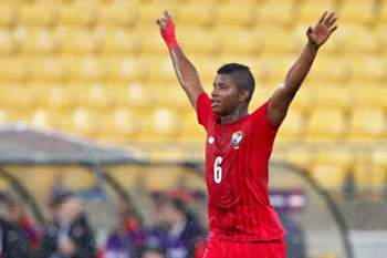 epa04779541 Fidel Escobar of Panama celebrates in the rain after scoring during the FIFA Under-20 World Cup 2015 group B match between Austria and Panama in Wellington, New Zealand, 02 June 2015. EPA/DEAN PEMBERTON