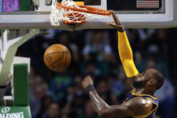 Cleveland Cavaliers forward LeBron James dunks the ball during the first half of the NBA basketball game between the Cleveland Cavaliers and the Boston Celtics at the TD Garden in Boston, Massachusetts, USA, 05 April 2017.