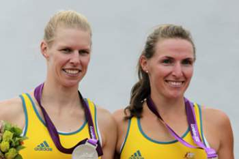 epa03331972 Australia's Kate Hornsey (R) and Sarah Tait celebrate their silver medals after the Women's Pair during the London 2012 Olympic Games Rowing competition at the Eton Dorney rowing centre near the village of Dorney, west of London, Britain, 01 August 2012.
