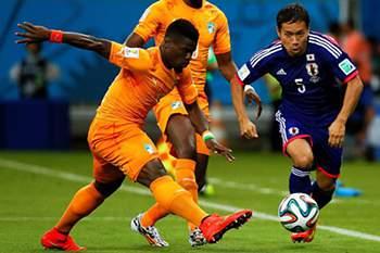 Serge Aurier esteve em bom plano no Mundial 2014, com a camisola da Costa do Marfim