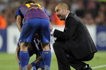 Daniel Alves e Guardiola.