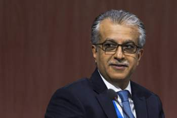 epa04773807 FIFA Executive Committee member Salman Bin Ibrahim Al Khalifa of Bahrain attends the 65th FIFA Congress at the Hallenstadion in Zurich, Switzerland, 29 May 2015. The FIFA Congress will elect the FIFA president. EPA/PATRICK B. KRAEMER