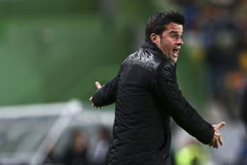 Marco Silva, head coach of Sporting , reacts during their Portuguese Soccer Cup Semi-final second leg match against Nacional da Madeira held at Alvalade Stadium in Lisbon, 08 April 2015. JOSE SENA GOULAO/LUSA