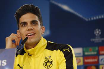 epa05662693 Borussia Dortmund's Spanish defender Marc Bartra attends a press conference held after a team's training session at Santiago Bernabeu stadium in Madrid, Spain, 06 December 2016. Borussia Dortmund will face Real Madrid in an UEFA Champions League soccer match the upcoming 07 December. EPA/KIKO HUESCA