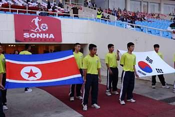 Jogo de futebol feminino entre as duas Coreias