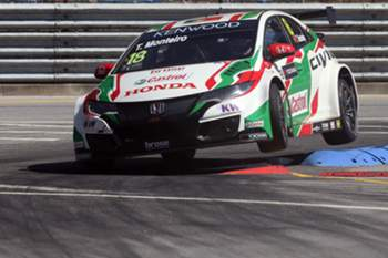 Portuguese Tiago Monteiro driving his Honda Civic WTCC team, during the second stage of World Touring Car Championship in Vila Real, Portugal, 26 June 2016. JOSE COELHO/LUSA