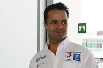 """Os pilotos Pedro Lamy,(d) e Tiago Monteiro,(E) estiveram hoje na apresentação dso """" 1000 kms do Algarve """" prova do campeonato Le Mans, realizada no autodromo do Algarve, 17 de junho de 2009. LUIS FORRA/LUSA"""