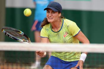 Monica Niculescu of Romania in action during her second round match against Paula Ormaechea for the French Open tennis tournament at Roland Garros in Paris, France, 29 May 2014.