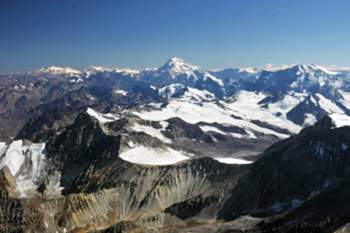 A handout picture provided by Greenpeace on 05 March 2014 shows a general view of the Andes mountain chain and several glaciers near of the copper mine 'Division Andina', 120 kilometers from Santiago, Chile. Greenpeace announced on 05 March 2014 the seizure of the land and their intention to establish a country in the Chilean territory in protest over the abandonment and lack of protection of more than 3,100 glaciers. The group set the first flag of the 'country' named Glacier Republic on 02 March 2014. The pioneers of the event, returned to Santiago to fulfill the diplomatic requirements necessary for the international acknowledgement of the 'country'.