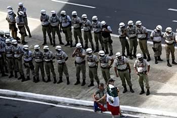 A Arena Fonte Nova é alvo de um forte contingente policial