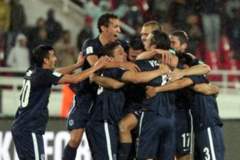 Players of Auckland City celebrate after winning the quarter final match between ES Setif and Auckland City FC at the FIFA Club World Cup in Rabat, Morocco, 13 December 2014.