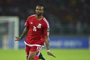 Javier Balboa of Equatorial Guinea reacts after scoring his team's goal second goal during the 2015 Africa Cup of Nations quarter-finals soccer match between Tunisia and Equatorial Guinea at Bata Stadium in Bata, Equatorial Guinea, 31 January 2015.