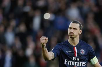 epa04652164 Paris Saint Germain player Zlatan Ibrahimovic celebrates scoring the second goal during the Ligue 1 match between Paris Saint Germain (PSG) and RC Lens at the Parc des Princes stadium, in Paris, France, 07 March 2015. EPA/IAN LANGSDON