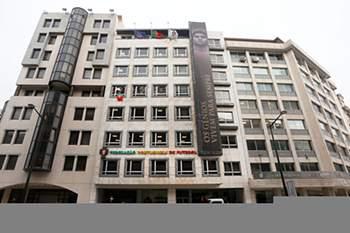 Vista geral da fachada da antiga sede da FPF