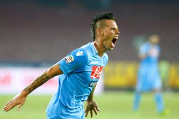 Napoli's Slovak forward Marek Hamsik celebrates after scoring during the Italian Serie A football match SSC Napoli vs Bologna FC at San Paolo Stadium in Naples on August 25, 2012. AFP PHOTO / CARLO HERMANN