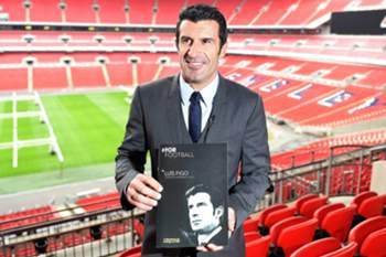 epa04626996 Former Real Madrid and Portugal soccer star Luis Figo unveils his FIFA election manifesto during a press conference at Wembley Stadium in London, Britain, 19 February 2015. Figo said on 19 February 2015, he will redirect half of Fifa's revenues into grass-roots soccer if he's elected as president of world soccer's governing body, FIFA. The election for FIFA president takes place on May 29. EPA/ANDY RAIN