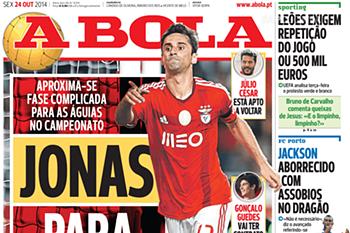 "Jonas faz capa no jornal ""A Bola"""
