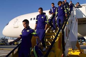 A comitiva do Chelsea aterrou em Figo Maduro