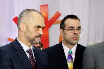 Olsi Rama (R), and his brother Albanian Prime Minister Edi Rama (L), in Tirana, Albania. Belgrade media reported 15 October 2014 that Olsi Rama, the brother of Albania's Prime Minister Edi Rama, organized and piloted the flight of a drone carrying a provocative Albanian banner during Serbia-Albania Euro 2016 qualifier in Belgrade late 14 October 2014. The match was interrupted late in the first half. First, the players from both teams scuffled about the banner, then spectators joined the melee and the match was broken off. FIFA president Joseph Blatter 15 October condemned the politically coloured violence that prematurely ended the game.