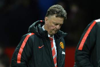epa04555714 Manchester United manager Louis van Gaal reacts after the English Premier League soccer match between Manchester United and Southampton at the Old Trafford in Manchester, Britain, 11 January 2015. EPA/PETER POWELL DataCo terms and conditions apply https://www.epa.eu/files/Terms%20and%20Conditions/DataCo_Terms_and_Conditions.pdf