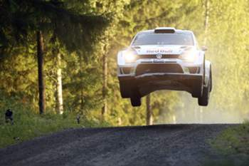 Finnish Jari-Matti Latvala drives during the third day of FIA World Rally Championship WRC Neste Oil Rally Finland in Jyvaskyla, central Finland on August 2, 2014.