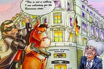 "Postal natalício de Ecclestone chama alemães de ""ladrões""."