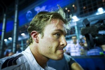 German Formula One driver Nico Rosberg of Mercedes AMG GP walks on the track before the start of the Singapore Formula One Grand Prix night race in Singapore, 21 September 2014.