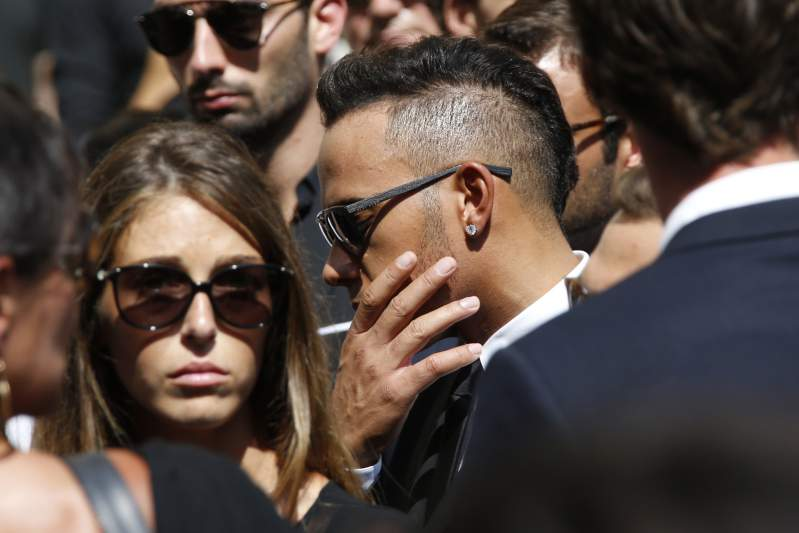 Lewis Hamilton no funeral de Bianchi