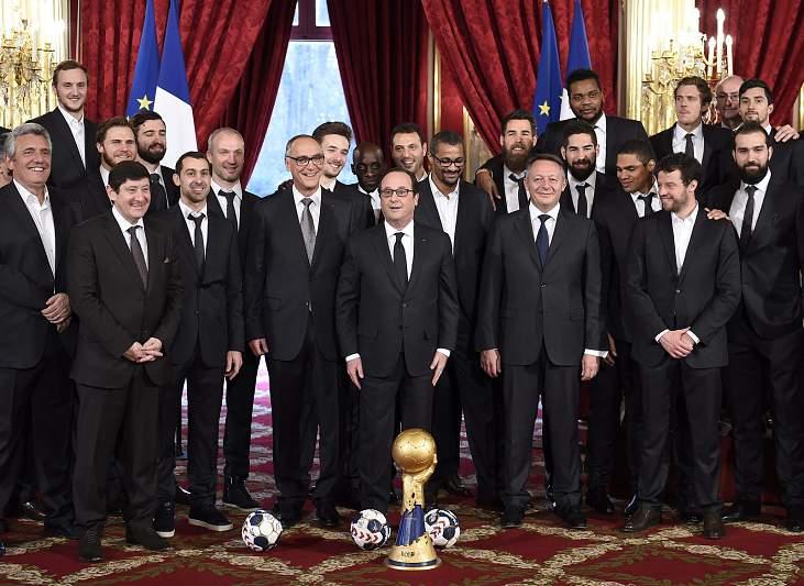 Seleção francesa de andebol com Hollande