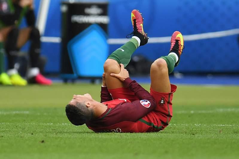 Cristiano Ronaldo em sofrimento