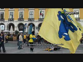 Suecos pintam Lisboa de amarelo e azul