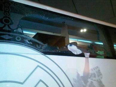 Autocarro do Real Madrid apedrejado