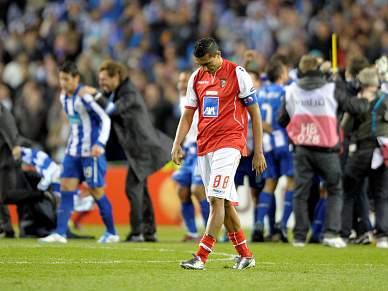 Jogadores do Braga tristes e em debandada
