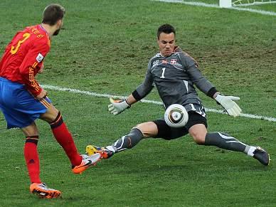 Espanha esbarra no muro suíço