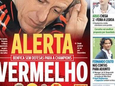 Benfica domina destaques na imprensa desportiva