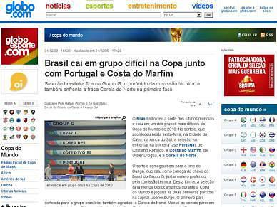 Imprensa brasileira fala de azar no sorteio