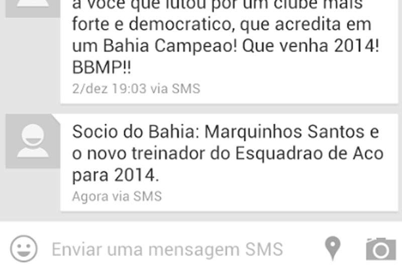 Treinador do Bahía anunciado via SMS