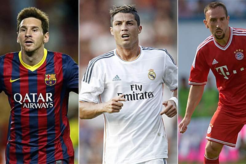 Onze ideal do L'Equipe com os três finalistas à Bola de Ouro