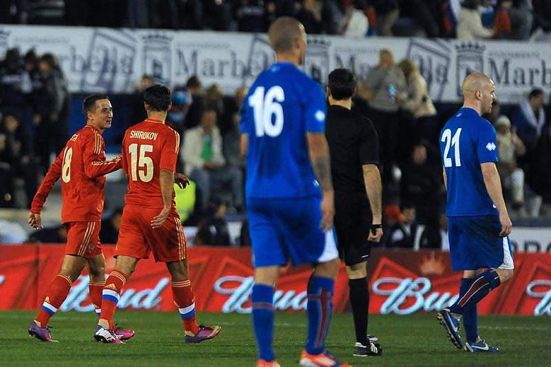 Rússia vence Islândia por 2-0 em jogo particular