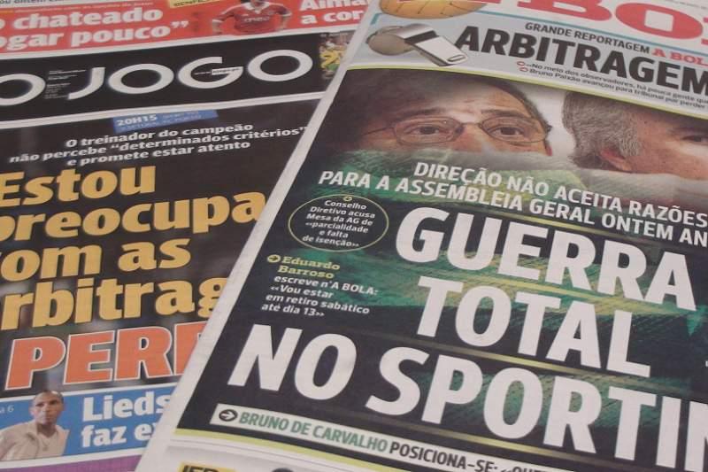 'Guerra' no Sporting e Vítor Pereira em manchete