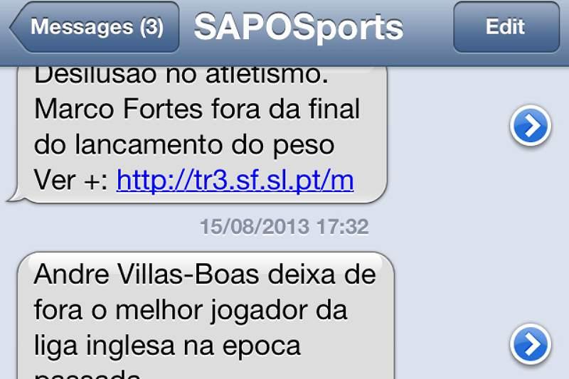 Notícias de desporto em mensagens gratuitas