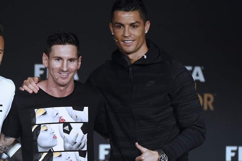 Cristiano Ronaldo com Lionel Messi e Neymar Jr. na Gala da Bola de Ouro 2015