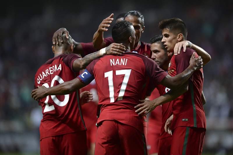 Jogadores da seleção portuguesa celebram o golo de Nani