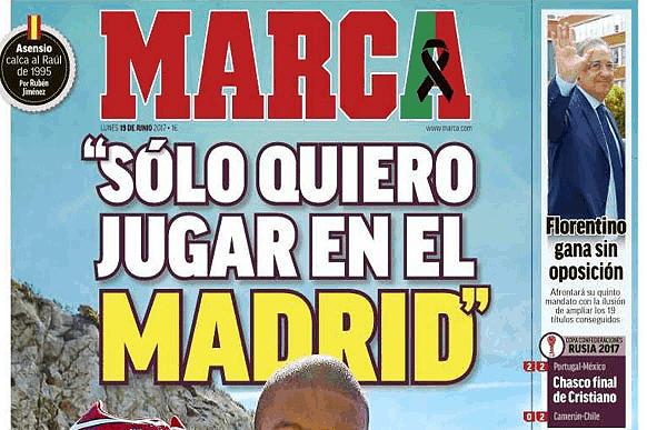 Capa do jornal Marca desta segunda-feira