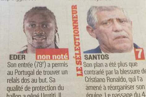 Jornal L'Équipe não deu nota a Éder